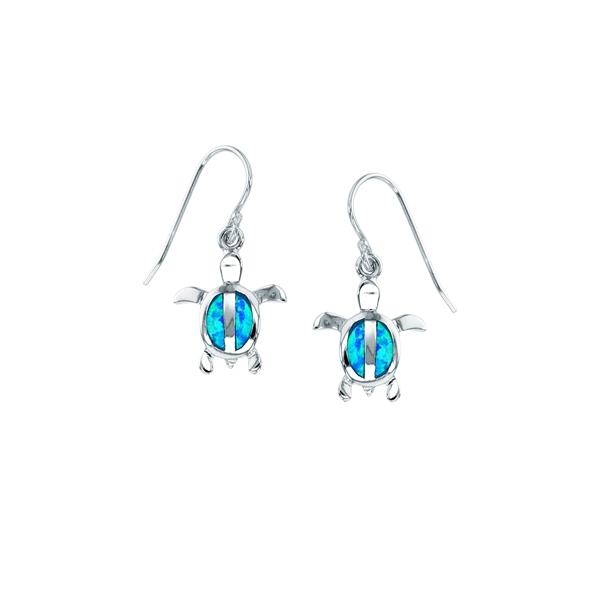 Sterling Silver Blue Opal Turtle Split Body Wire Earring