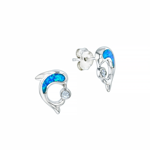 Sterling Silver Rhodium Plated Blue Opal Dolphin with CZ Earring